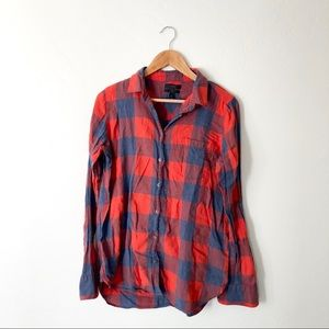 J.Crew Red Blue Plaid Button Down